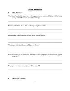 Free Anger Worksheets | coping skills | Anger management, Worksheets ...