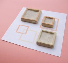 Fair and Squares Pattern - Hand Carved Rubber Stamp Set
