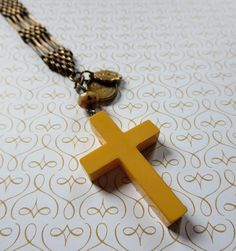 Vintage Bakelite Cross with Fob on Beaded Rosary Style Agate Chain Necklace, Faith Collection, Re-Purposed