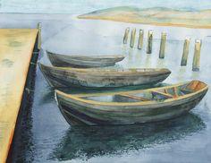 Fischerboote am Strand zwischen Thiessow und Klein Zicker | Die drei von der … Kaikante (c) Aquarell von FRank Koebsch
