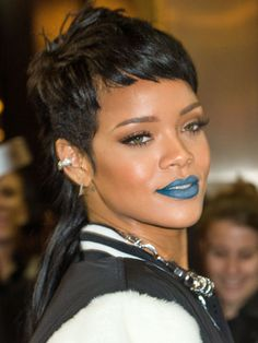 Rihanna's Mullet and Blue Lip: Would you try either (or both!) of these in-your-face trends? #SelfMagazine