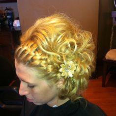 updo for short hair! Minus the braid!!