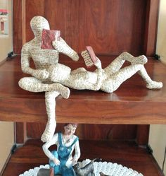 Paper Mache Sculpture, Reading Couple, Readin g Woman, Reading Man vfI have made several reading woman sculptures over the years. And it seemed like a good time to go and explore futher. These paper mache couple are enjoying the wind and the leaves o Paper Mache Projects, Paper Mache Clay, Paper Mache Sculpture, Paper Mache Crafts, Clay Art, Sculpture Art, Art Projects, Paper Mache Tree, Paper Sculptures