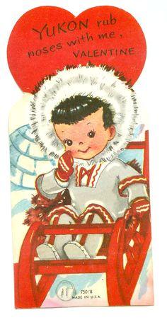 "Cute Eskimo on Snow Sled ""Yukon Rub Noses with Me"" Vintage Valentine Card Valentine Images, My Funny Valentine, Valentines Greetings, Valentine Greeting Cards, Vintage Valentine Cards, Little Valentine, Vintage Greeting Cards, Vintage Holiday, Vintage Postcards"