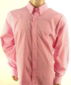 POLO RALPH LAUREN $110 PINK WHITE STRIPED Big & Tall BUTTON DOWN SHIRT 2XLT…