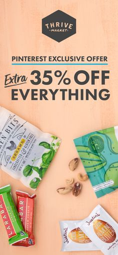 Thrive Market sells the healthiest products at a discount. Think Costco meets Whole Foods online! Sign up today and get 35% OFF your first order. Healthy Snacks, Healthy Recipes, Organic Brand, Homemade Pickles, Healthy Food Delivery, Gourmet Recipes, Soap Recipes, Organic Recipes, Kitchens