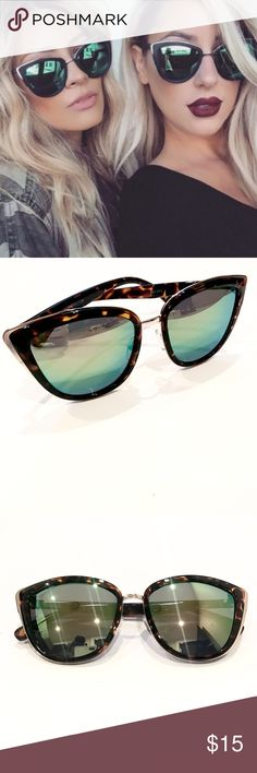 """My Girl Green Mirrored Tortoiseshell Sunglasses Fun retro cat eye sunnies with colorful mirrored lenses. Look identical to the Quay My Girl Cat Eye Sunglasses! Available in gold/tortoiseshell frames. Color can vary by lighting. Approx. 6"""" wide. First pic is for style reference.   Price is firm unless bundled. Bundle 2 items and save 10%, bundle 4 or more and save 20%. Accessories Sunglasses"""