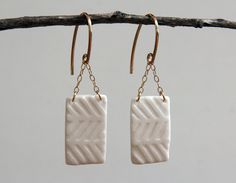 white porcelain round hoop gold earrings by RemnantCeramics