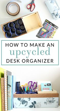 Follow this tutorial to make a simple upcycled desktop pen organizer. Keep your desk clear, with office supplies organized and handy. #MyGo2Pen #ad