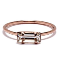 Tiny Baguette Ring. Rose or Yellow gold-plated over sterling silver with Swarovski crystal. Sizes 4, 6, 7. $64.