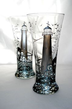 Lighthouse Hand Painted Glasses Vase Home by SkySpiritStudios