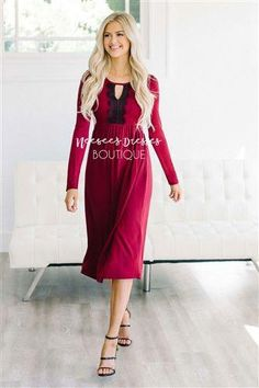 27bac2e69e6d This dress is feminine, beautiful and classic! Gorgeous and rich, deep wine  dress features long sleeves and a gathered empire bodice with a black  eyelash ...