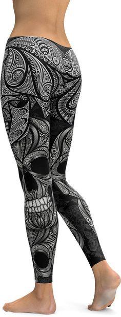 Ornamental Skull Leggings - GearBunch