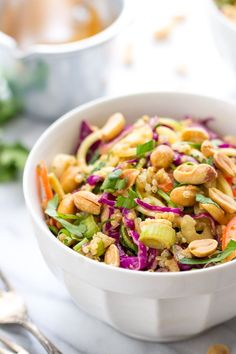 PAD THAI ZUCCHINI NOODLE SALAD with a creamy peanut butter sauce and quinoa for extra protein [vegan]