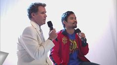 "Will Ferrell and the Filipino hero himself, Manny Pacquiao, sing ""Imagine"".  Such feels."