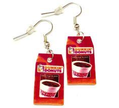 Dunkin Donuts Coffee Bean Earrings