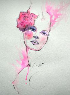 """Rose Girl II"" Original illustration by JUURI for www.etsy.com/shop/fasharthome #fashion #illustration #pink"