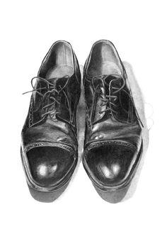 dibujo al carbón-zapatos de hombre-sin mención de autor