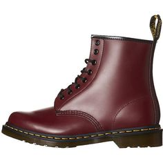 Dr. Martens Womens 1460 8 Eye Boot (205 CAD) ❤ liked on Polyvore featuring shoes, boots, cherry, real leather shoes, real leather boots, dr martens footwear, leather shoes and dr martens boots