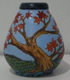 """""""Lady of the Orient"""" vase (backside) Thrown and turned by Mac Treliving, carved and glazed by Anna Evans in Napier July 2012"""