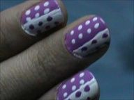 White and Purple - tutorial easy nail design beginners- easy nail design for short nail art designs