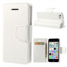 Apple iPhone 5C Valkoinen Goospery Lompakkokotelo  http://puhelimenkuoret.fi/tuote/apple-iphone-5c-valkoinen-goospery-lompakkokotelo/