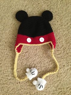 Crochet Mickey Mouse hat- no yellow though. It's the mitten detail that's the winner! Crochet Hat Earflap, Crochet Baby Mittens, Bonnet Crochet, Crochet Kids Hats, Crochet Baby Booties, Crochet Crafts, Crochet Projects, Earflap Beanie, Crocheted Hats