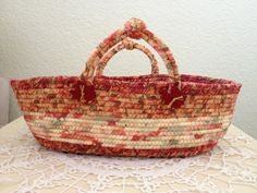 Fall Basket made from fabric-wrapped clothesline
