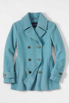 Women's Luxe Wool Pea Coat from Lands' End in Dusty Aqua