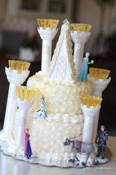 Frozen Themed Birthday Party Cake - Ice Castle from @girlinspired