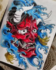 Japanese Geisha Tattoo, Japanese Mask Tattoo, Japanese Tattoo Designs, Japanese Sleeve Tattoos, Japanese Art, Japanese Demon Mask, Tengu Tattoo, Hanya Mask Tattoo, Samurai Tattoo Sleeve