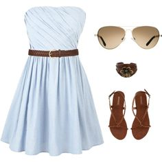 Cute summer casual outfit! An easy way to   dress down an old bridesmaid dress.