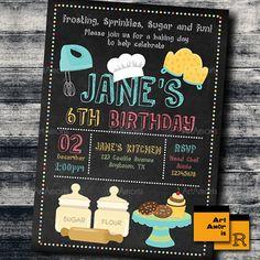 Cooking Theme Chalkboard Invitations  Girl Chef Baking Birthday