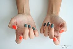 Mani idea: neon orange & grey