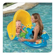 For ages 18m+ Baby's ring has 2 squeeze-and-squeak friends Features dual flotation rings for added safety Shady canopy provides sun protection Cute ocean character art printed on transparent PVC. Banzai has the BEST SUMMER Backyard Toys for you to play and get SOAKED! #FunYourself!