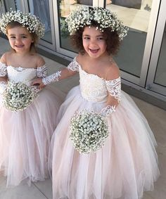 Princess Ball Gown Tulle Flower Girl Dresses With Long Sleeves 2018 on Luulla Blush Flower Girl Dresses, Tulle Flower Girl, Tulle Flowers, Little Girl Dresses, Flower Girl Hair, Flower Girl Outfits, Flower Crowns, Kids Pageant Dresses, Girls Dresses