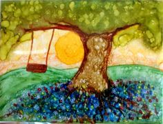 Tile Art Painting Alcohol Ink Tree Swing 6 x 8 by TipsyGypsyArtCo, $18.00