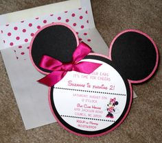 Minnie Mouse Invitation by PapercutInvites on Etsy Minnie Y Mickey Mouse, Minnie Mouse 1st Birthday, Mickey Party, Fete Emma, Rosa Satin, Festa Party, 3rd Birthday Parties, Birthday Ideas, 2nd Birthday