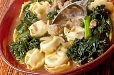 Slow Cooker Tortellini Soup with Kale - A healthy and tasty-looking slow cooker soup recipe.