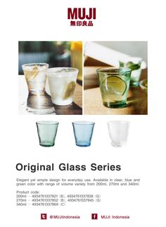Original glass series that are elegant yet simple design for everyday use. Available in clear, blue and green color.