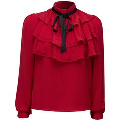 Red High Neck Bow Tie Detail Layered Ruffle Blouse (534.015 IDR) ❤ liked on Polyvore featuring tops, blouses, frilly blouse, flutter-sleeve top, high neck blouse, layered tops and bow tie blouse