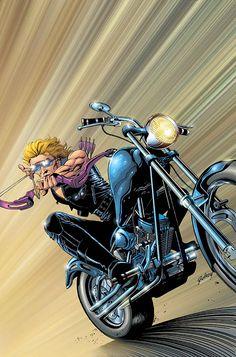 Hawkeye Vol. 3 # 2 by Paul Gulacy Motorcycle Art, Bike Art, Marvel Comics Art, Marvel Avengers, David Mann Art, Geek Movies, Comic Book Covers, Comic Books, American Comics