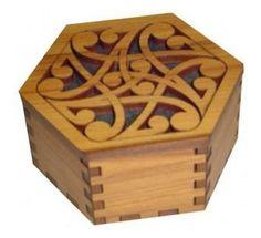 Wooden Hexagonal Box - Trinket Box - New Zealand Kiwi Small Wooden Boxes, Wooden Jewelry Boxes, Wood Boxes, Wooden Box Designs, Maori Patterns, Hexagon Box, Butterfly Stencil, Maori Designs, Box Joints