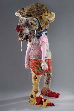 Elisabeth Higgins O'Connor's textile sculptures – INAG Toy Art, Textile Fiber Art, Textile Artists, Textiles, Soft Sculpture, Lion Sculpture, Outsider Art, Wire Art, Collage Art