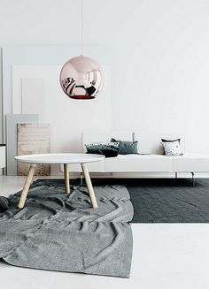 We love the Tom Dixon Copper Shade in this calming Raya Todorova room! www.nest.co.uk/browse/brand/tom-dixon/tom-dixon-copper-shade-light Image via http://www.amerrymishapblog.com/2014/07/raya-todorova.html