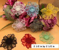 Flower lace applique/Floral Lace Applique/Lace Patch, two layers lace | Zeng's Lace