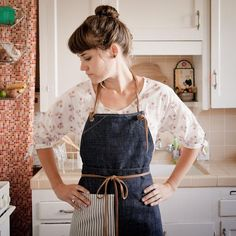 Denim and Stripes Apron -Stitch and Hammer