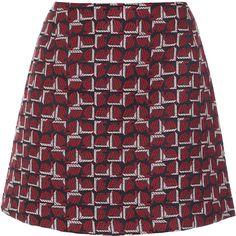 Tara Jarmon Bordeaux Jacquard Print Skirt ($84) ❤ liked on Polyvore featuring skirts, bottoms, prints, tartan plaid skirt, zipper skirt, red checkered skirt, houndstooth skirt and patterned skirts