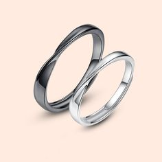 01a816eb4c Black & Silver Mobius Design 925 Sterling Silver Adjustable Promise Rings  For Lovers