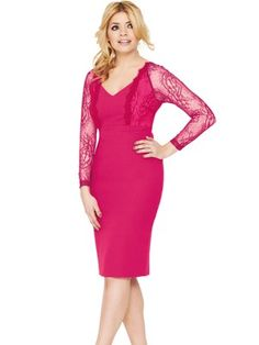 Holly Willoughby's Holly Willoughby For Very Bubblegum Pink Stretch Crepe & Sheer Lace Long Sleeve V-Neck Tailored Bodycon Pencil Dress. Lace Back Dresses, Dresses For Work, Formal Dresses, Holly Willoughby, Fashion Forever, Bubblegum Pink, Pencil Dress, Lace Overlay, Lace Sleeves